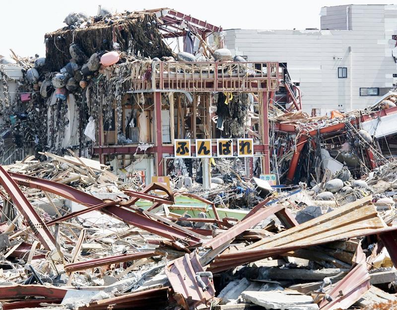 震災直後の防災対策庁舎